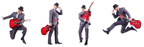 The businessman quitar player isolated on white Royalty Free Stock Photos