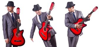 The businessman quitar player isolated on white Royalty Free Stock Image