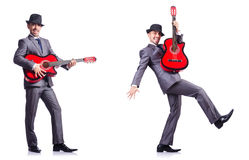 The businessman quitar player isolated on white Stock Images