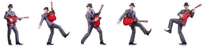 The businessman quitar player isolated on white Stock Image