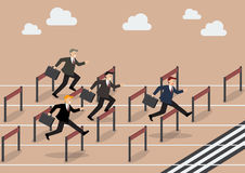Businessman race hurdle competition Royalty Free Stock Images