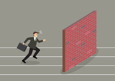 Businessman race to dead end Royalty Free Stock Images