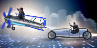The businessman racing on car and airplane Royalty Free Stock Photography