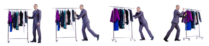 The businessman with rack of clothing Stock Photography