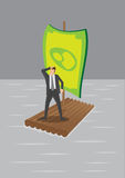 Businessman on Raft with Money Sail Vector Illustration. Vector illustration of a businessman stranded on wooden raft with money sail surrounded by water Royalty Free Stock Image