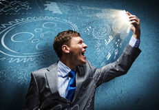 Businessman in rage Stock Images