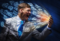 Businessman in rage Stock Photography