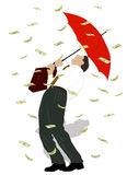 Businessman in the rain from money Royalty Free Stock Photo