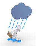 Businessman and rain. Businessman is running to avoid cloud and rain Royalty Free Stock Photos