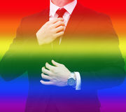 Businessman with rainbow colors for gay pride Stock Image