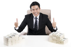 Businessman raise his hand and held the thumb to show excellent Royalty Free Stock Image