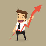 Businessman raise one's arrow growing chart Royalty Free Stock Image
