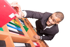 Businessman raise up to archieve goal Royalty Free Stock Images