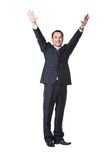 Businessman with raised hand Stock Photo