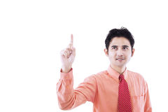 Businessman raise hand - isolated Royalty Free Stock Image