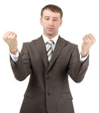Businessman raised his hands up in front of him Royalty Free Stock Photography