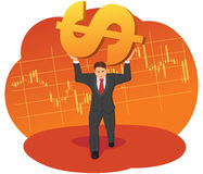 Businessman raises a dollar sign Stock Image