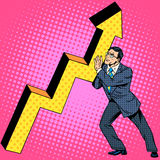Businessman raises growth chart Stock Photos