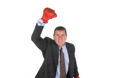 Businessman raising arm in victory Royalty Free Stock Image