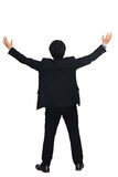 Businessman raising hand. Isolated over white with clipping path stock image