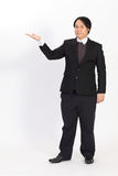 Businessman raising his hand -  over a white background Royalty Free Stock Photo