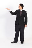 Businessman raising his hand -  over a white background Royalty Free Stock Images