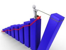 Businessman raising last bar of chart. 3d businessman pulling up the last bar of blue chart with red arrow Royalty Free Stock Photos