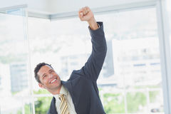 Businessman raising up his hand Royalty Free Stock Image