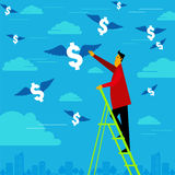 Businessman reach the money with ladder Stock Images