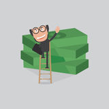 Businessman Reach Piles Of Banknotes By Ladder Vector Royalty Free Stock Photos