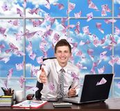 Businessman reaches out Stock Photo