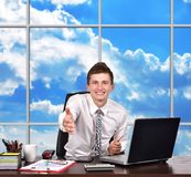Businessman reaches out Stock Image