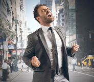 Businessman reaching a goal Royalty Free Stock Photos