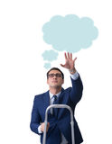 The businessman reaching out to callout message Royalty Free Stock Image