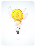 Businessman is Reaching the target. Vector illustration of a businessman is reaching the target by catching the wing coin Stock Photos