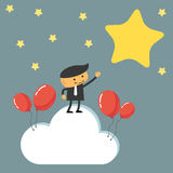 Businessman reaching to the stars. Concept of success and reaching goals Stock Photo