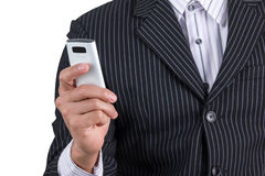 Businessman read the massage on phone Royalty Free Stock Photography