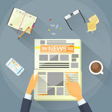 Businessman Read Newspaper, Hands Hold News Paper. Desk Office Flat Vector Illustration Royalty Free Stock Image