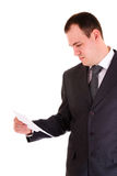 Businessman read paper Stock Photo