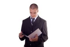 Businessman reading Stock Photos