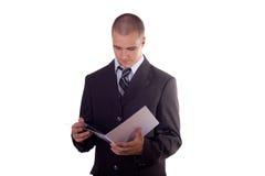 Businessman reading Stock Photos