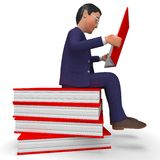 Businessman Reading Books Means Learned Education And School Royalty Free Stock Images