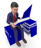 Businessman Reading Books Means School Study And Knowledge Royalty Free Stock Photography