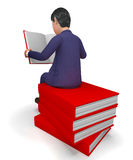 Businessman Reading Books Represents Businessmen School And Knowledge Stock Photo