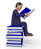 Businessman Reading Books Shows Textbook Information And Commerce Stock Images