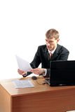 Businessman reading documents Stock Photos