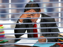 Businessman Reading Documents At His Desk Royalty Free Stock Images