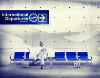 Businessman Reading Flight Terminal Airline Concept Royalty Free Stock Image