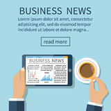 Businessman reading news and drinking coffee. Business news on tablet. Template banner. Vector illustration in flat design style Stock Photography
