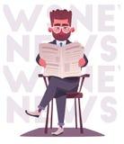 Businessman is reading a newspaper. Cartoon vector illustration stock image